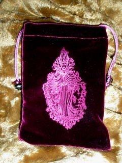 Velvet Embossed Moon Goddess Tarot Card Treasure Bag