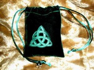 Velvet Embossed Triquetra Treasure Bag