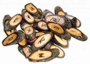 Natural Walnut Wood Rune Stone Set