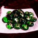 Green Glass Rune Stone Set