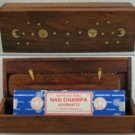 Shisham Wood Incense Box (Sun & Moon)
