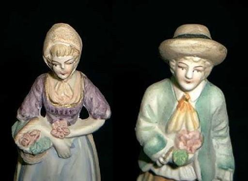 "BISQUE Pair  Man & Woman  ""Occupied Japan"" Circa 1945 -1950"