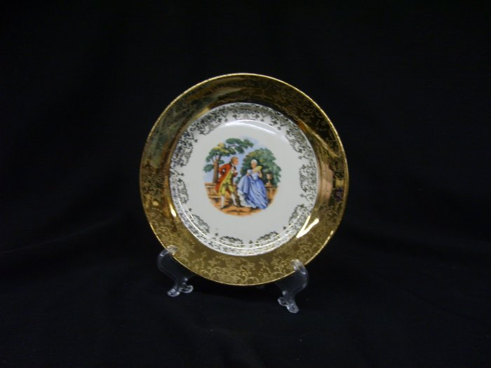 4 Decorative plates by Sabin 1940's - 22K Gold Trim