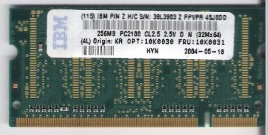 Laptop Memory 256MB PC 2100/2700 333 MHz CL2.5 OEM IBM / Hynix