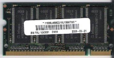 Laptop Memory 256MB PC 2100 Fits IBM FRU10K0031 DIMM SDRAM