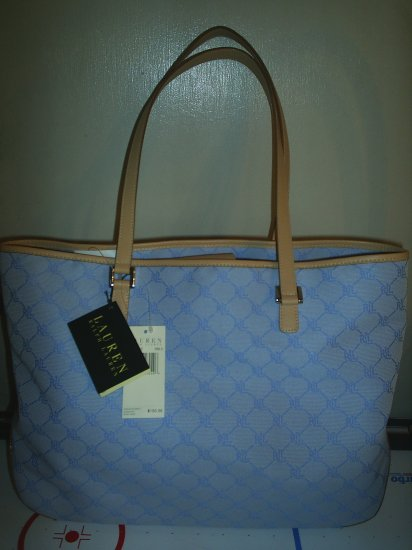 Ralph Lauren signature sky blue large tote RL 334XLGT