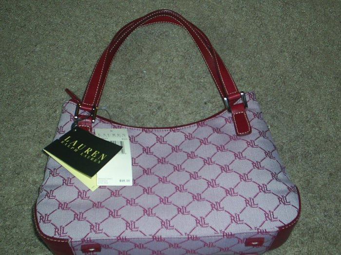 Ralph Lauren signature red handbag RL 334SAT