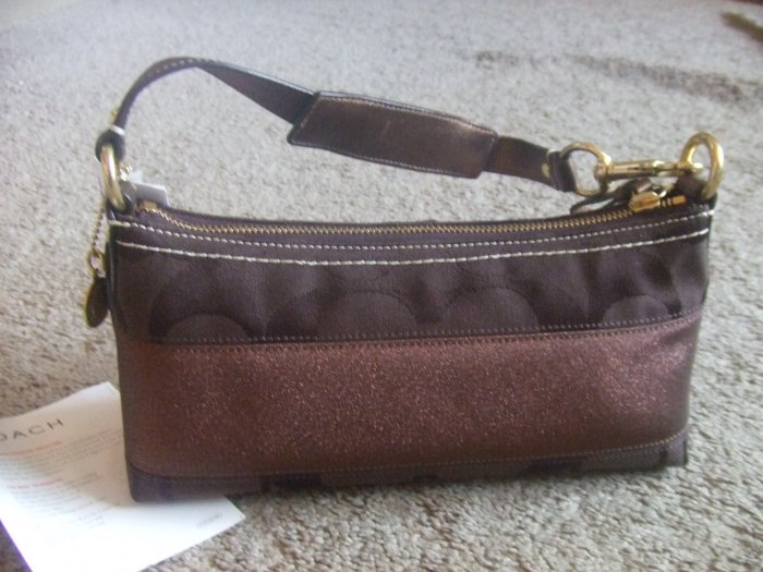 authentic COACH signature brown hobo stripe handbag