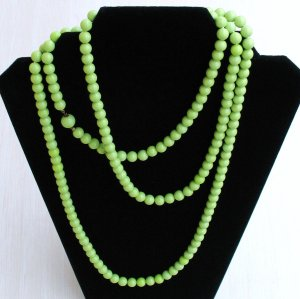 acid green / limey chartreuse impossibly long bead strand - vintage jewelry