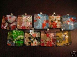 Handmade Japanese Glass Pendant Blossom w Matching Gift