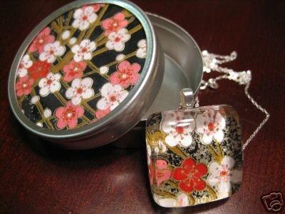 Handmade Japanese Glass Pendant Flowers w Matching Gift