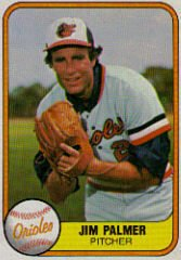 JIM PALMER 1981 FLEER #169 Baltimore Orioles MLB HOF