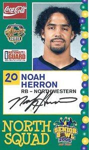 2005 Senior Bowl Noah Herron Northwestern sports cards