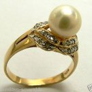PEARL & DIAMOND RING 14K YELLOW GOLD