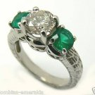 COLOMBIAN EMERALD DIAMOND 3-STONE RING 2.07CTS