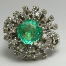 OUTSANDING NATURAL COLOMBIAN EMERALD AND DIAMOND RING