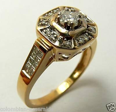 DIAMONDS RING 14 K YELLOW GOLD