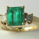 SPECTACULAR  COLOMBIAN EMERALD & DIAMOND RING 2.95CTS
