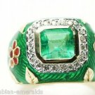 Custom! Emerald Diamond & Enamel Ring 3.0cts