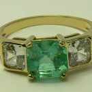 Colombian Emerald & Gold Ring with Russian CZ's