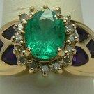 Unique Colombian Emerald Diamond & Amethyst Ring