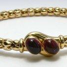 Ruby Cabochon & Gold Bangle Bracelet 14K 1.30cts