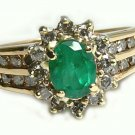COLOMBIAN EMERALD & DIAMOND RING .35CT 14K YELLOW GOLD