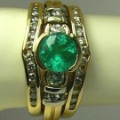 Glistening! Colombian Emerald & Diamond Wedding Set 2ct