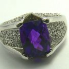 UNIQUE AMETHYST AND DIAMOND RING 18K