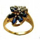 SAPPHIRE AND DIAMONDS 14K YELLOW GOLD RING