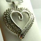 SPARKLING DIAMOND HEART PENDANT 14K WHITE GOLD 1CT