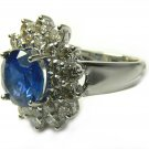 Impressive! Royal Blue Sapphire & Diamond Ring