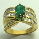 GLITTERING COLOMBIAN EMERALD & DIAMOND RING .90CTS