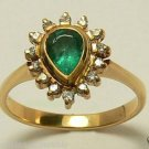COLOMBIAN EMERALD PEAR .80 CTS AND .30 CTS DIAMOND RING