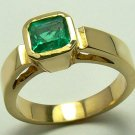 CLASSIC COLOMBIAN EMERALD & GOLD RING .80CTS