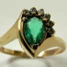 GORGEOUS COLOMBIAN EMERALD PEAR & DIAMOND RING 1.35CT