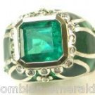 EMERALD RING 3.80 ENAMEL AND DIAMOND