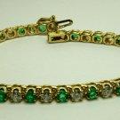 Sparkling! Colombian Emerald & Diamond Tennis Bracelet 5.60tcw 14k
