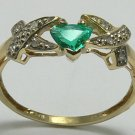 LOVELY COLOMBIAN EMERALD TRILLION 10K GOLD RING