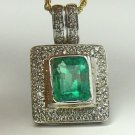 SUBSTANTIAL COLOMBIAN EMERALD & DIAMOND PENDANT 5CTS