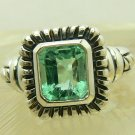 NEW~Artisan Collection! Emerald Cut Colombian Emerald & Sterling Silver Ring