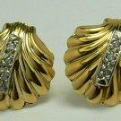 Classic Gold & Diamond Shell Earrings