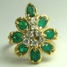EYE CATCHING VINTAGE COLOMBIAN EMERALD & DIAMOND RING