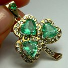 COLOMBIAN EMERALD & DIAMOND SHAMROCK PENDANT 9CTS