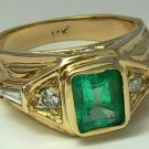 Handsome! Colombian Emerald Diamond & Gold Ring 2.0cts