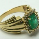 EXCELLENT COLOMBIAN EMERALD & DIAMOND RING 1.0CT