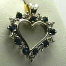 REGAL!! SAPPHIRE & DIAMOND HEART PENDANT