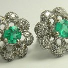 1.0tcw Floral Colombian Emerald & Dimaond Earrings