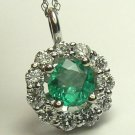 1.70tcw Classic Colombian Emerald & Diamond Pendant VS1