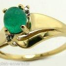 .80cts Elegant! Colombian Emerald Cabochon Diamond & Gold Ring 14k